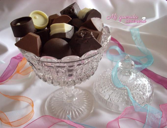 Bombones caseros con crema y chocolate