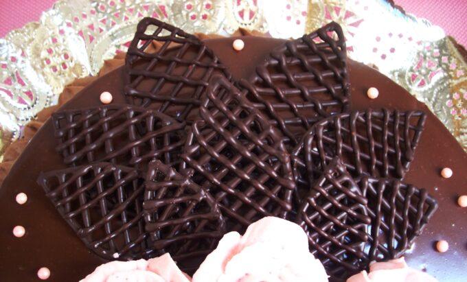 Hojas de rejilla y naturales con chocolate