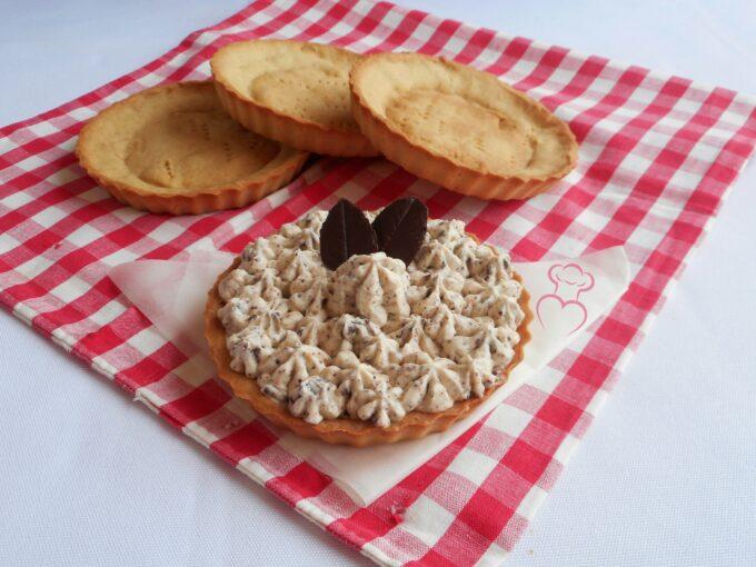Tartaletas de galleta con crema stracciatella