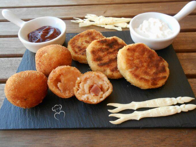Tortitas de coliflor con jamón y queso