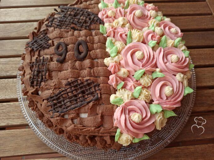 Tarta de flores con mousseline de vainilla y chocolate